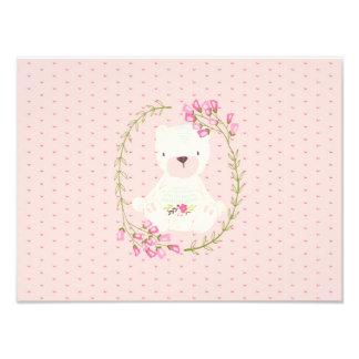 Cute Bear Floral Wreath and Hearts Photo Print