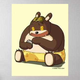 Cute bear funny cartoon anime character poster