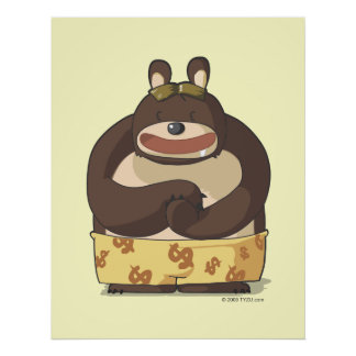 Cute bear funny cartoon anime character poster