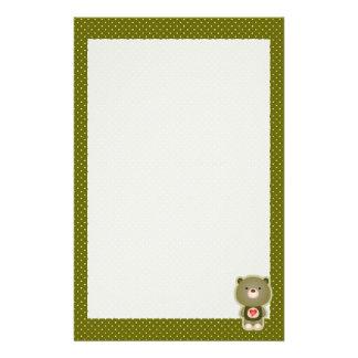 Cute Bear Green Stationery Paper