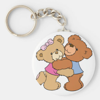 Cute Bear Hug Bears Basic Round Button Key Ring