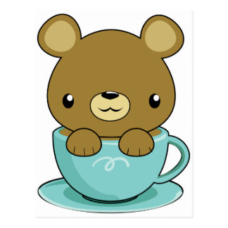 Cute Bear in Teacup (Brown Bear Type) Postcard
