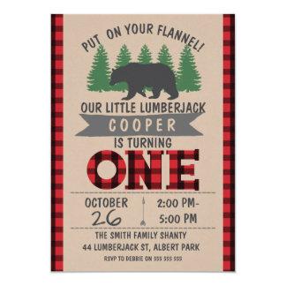Cute Bear Lumberjack 1st Birthday Invitation