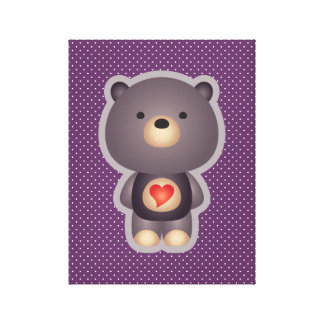 Cute Bear Purple Gallery Wrapped Canvas