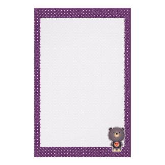 Cute Bear Purple Stationery Design