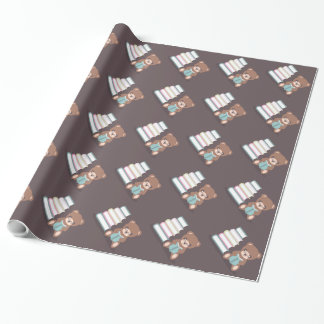 Cute Bear Reading a Book Gift Wrapping Paper