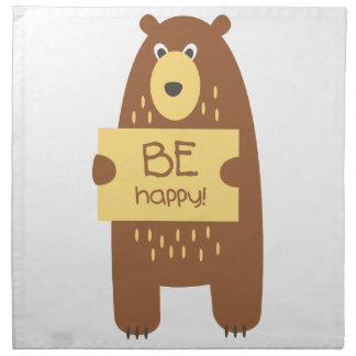 Cute bear with a sign for text napkin