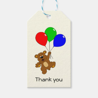 Cute bear with balloons thank you gift tags