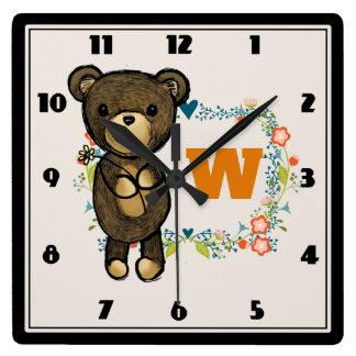 Cute Bear, Yellow Flower & Floral Wreath Monogram Square Wall Clock