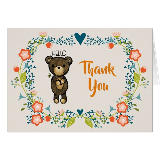 Cute Bear, Yellow Flower & Floral Wreath Thank You Card
