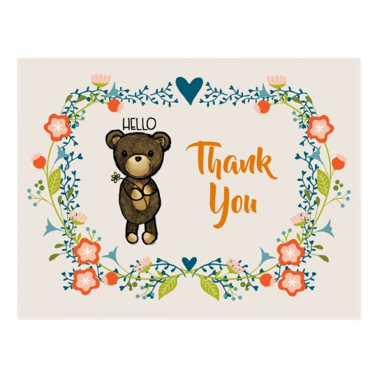 Cute Bear, Yellow Flower & Floral Wreath Thank You Postcard