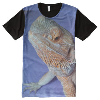Cute Bearded Dragon Picture Black and Blue All-Over Print T-Shirt