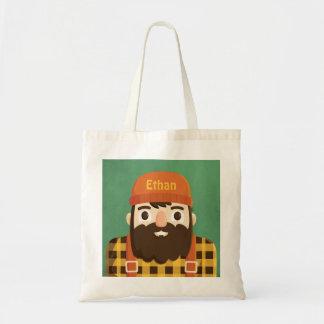 Cute Bearded Lumberjack in Plaid Tote Bag
