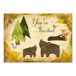 Cute Bears and Woodland Animals Baby Shower 13 Cm X 18 Cm Invitation Card