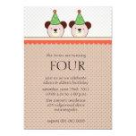 Cute Bears - Brown twins birthday invitations