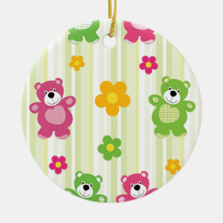 Cute Bears Floral Stripes Illustration Pattern Round Ceramic Decoration