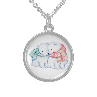 CUTE BEARS NECKLACE.  CLASS  TRENDY CHRISTMAS GIFT STERLING SILVER NECKLACE