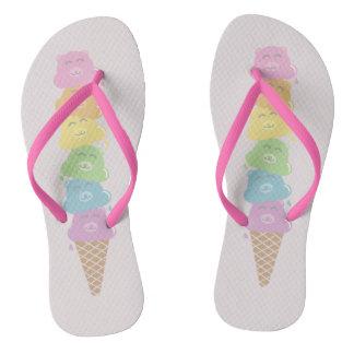 Cute Bears Rainbow Ice Cream Cone Flip Flops