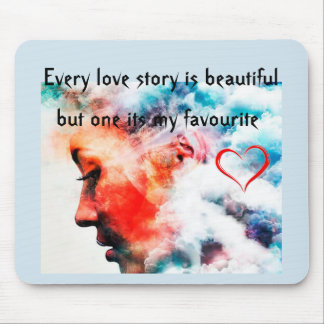 Cute beautiful words face Mouse pad