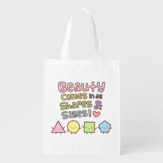 Cute Beauty Come in All Shapes and Sizes Quote Reusable Grocery Bag
