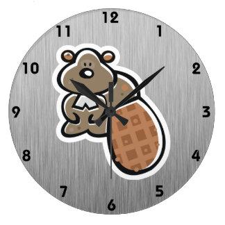 Cute Beaver; Metal-look Large Clock
