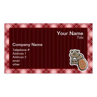 Cute Beaver; Red Plaid Business Card
