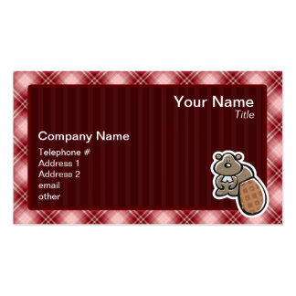 Cute Beaver; Red Plaid Pack Of Standard Business Cards
