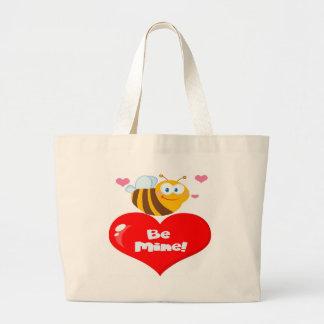Cute Bee A Red Heart Jumbo Tote Bag