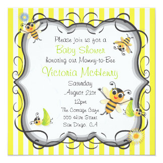 Cute Bee Baby Shower Invitation
