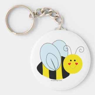 Cute Bee Basic Round Button Key Ring