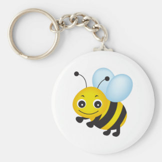 Cute bee design basic round button key ring