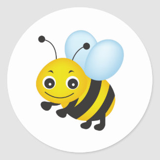 Cute bee design classic round sticker