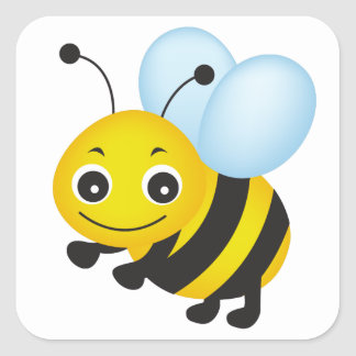 Cute bee design square sticker