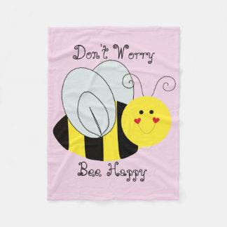 Cute Bee Don't Worry Bee Happy Fleece Blanket
