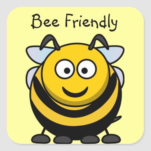 Cute Bee Friendly Yellow Book Name Plate Square Stickers