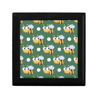 Cute Bee, Green & White Polka Dots Small Square Gift Box