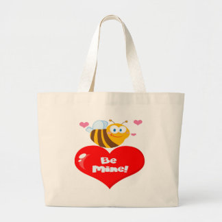 Cute Bee Holding Heart Saying be Mine Large Tote Bag