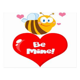 Cute Bee Holding Heart Saying be Mine Postcard