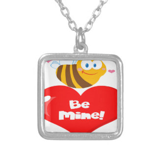 Cute Bee Holding Heart Saying be Mine Silver Plated Necklace