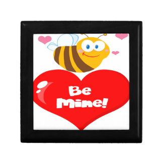 Cute Bee Holding Heart Saying be Mine Small Square Gift Box
