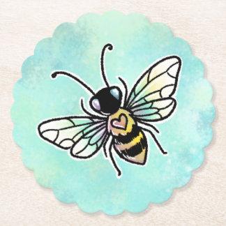 Cute bee paper coaster