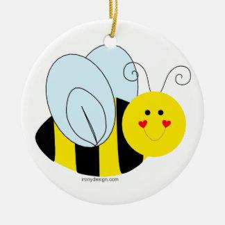 Cute Bee Round Ceramic Decoration