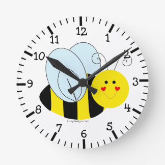 Cute Bee Round Clock