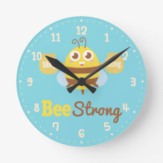 Cute Bee Strong Amusing Cartoon Clock