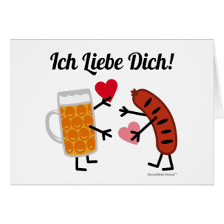 Cute Beer & Bratwurst Ich Liebe Dich! (I Love You) Card