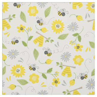 Cute Bees and Floral Pattern Fabric
