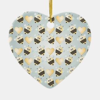 Cute Bees Honey Hearts Ornament