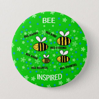 """Cute bees"" inspirational words 7.5 Cm Round Badge"