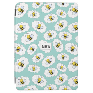 Cute Bees Pattern custom monogram device covers iPad Air Cover