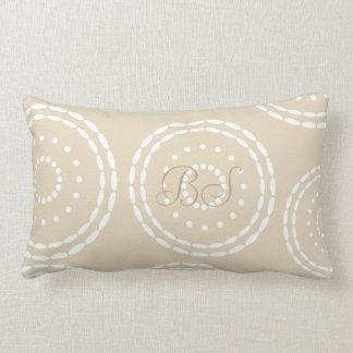 Cute Beige Gray Ornament Add Initials Pillow